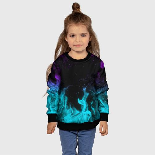 Детский свитшот 3D НЕОНОВЫЙ ОГОНЬ | NEON FIRE Фото 01