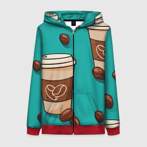 Женская толстовка 3D на молнии Я ЛЮБЛЮ КОФЕ   I LOVE COFFEE (Z) Фото 01