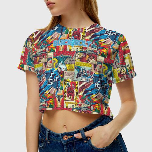 Женская футболка Crop-top 3D МARVEL Black Bolt Фото 01