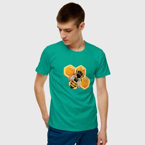 Мужская футболка хлопок Пчела на соте Фото 01
