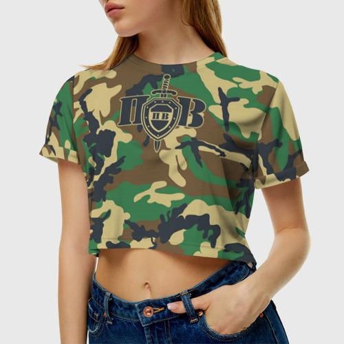 Женская футболка Crop-top 3D Пограничные Войска камуфляж Фото 01
