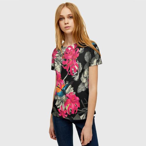 Женская футболка 3D Цветы Фото 01