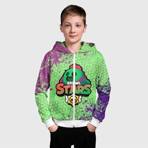 Детская толстовка 3D на молнии Brawl Stars Spike Фото 01