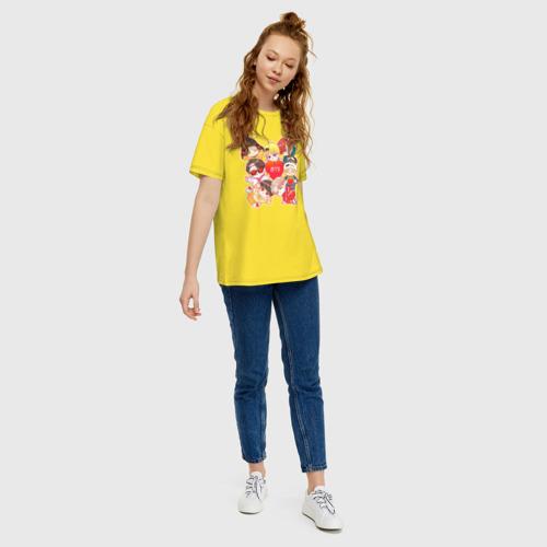 Женская футболка хлопок Oversize BTS CHIBI Фото 01