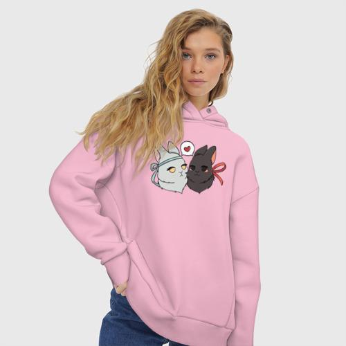 Женское худи Oversize хлопок Кролики Вэй и Лань Фото 01