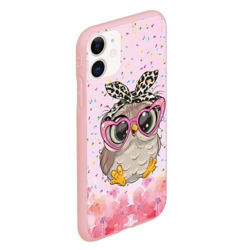 Чехол для iPhone 11 матовый Милая совушка в очках Фото 01