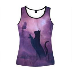 Бабочка кот силуэт фиолетовый