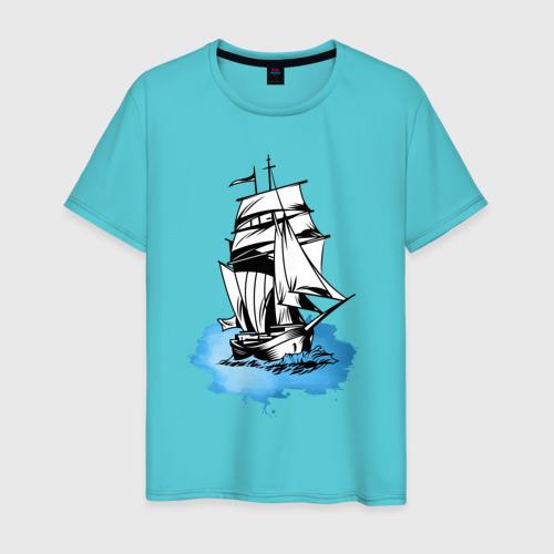 Мужская футболка хлопок Корабль Фото 01