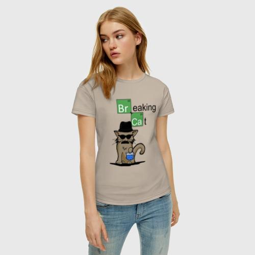 Женская футболка хлопок Breaking Cat Фото 01