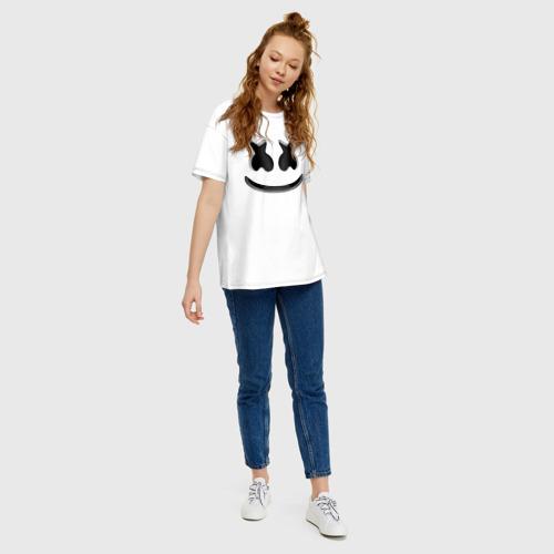 Женская футболка хлопок Oversize FORTNITE x MARSHMELLO 3D Фото 01