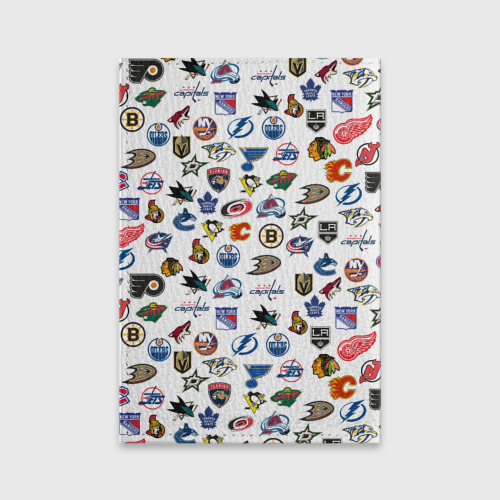 Обложка для паспорта матовая кожа NHL PATTERN | НХЛ (Z) Фото 01