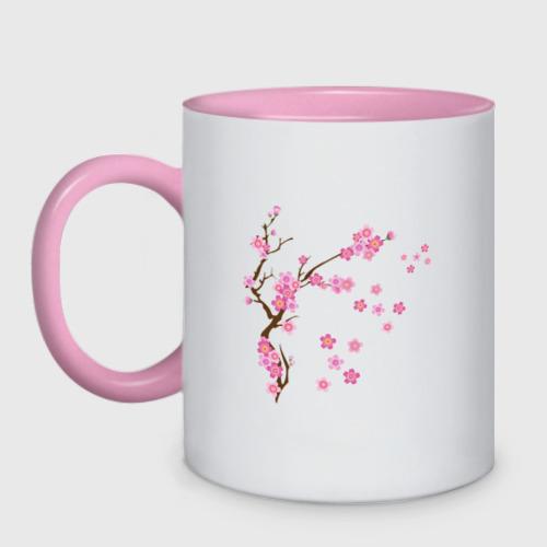 Кружка двухцветная Розовая сакура Фото 01