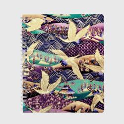 Японская вышивка с журавлями