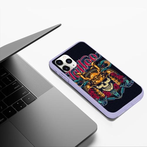 Чехол для iPhone 11 Pro Max матовый Череп со змеями (Тату-Воин) Фото 01
