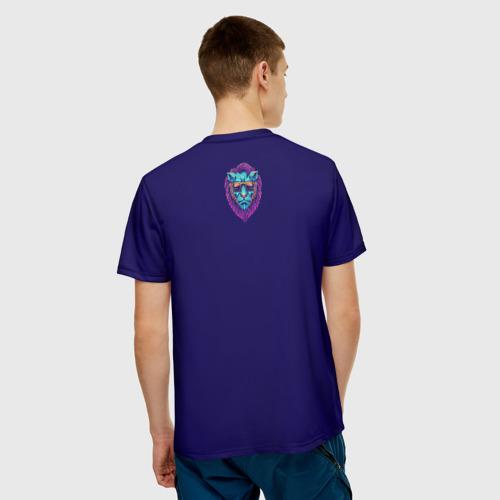 Мужская футболка 3D Неоновый лев в очках Фото 01
