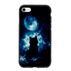 Кот силуэт луна ночь звезды