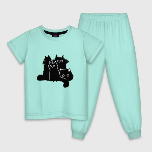 Детская пижама хлопок Мохнатые Коты Фото 01