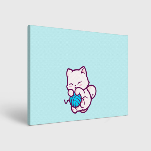 Холст прямоугольный Белый котенок с клубком милый Фото 01