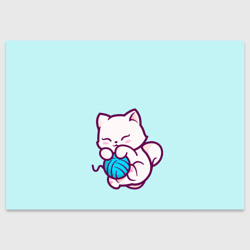 Белый котенок с клубком милый