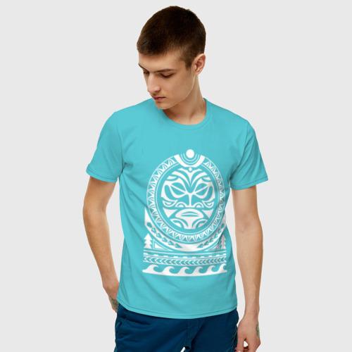 Мужская футболка хлопок Солнце и скат в полинезия Фото 01