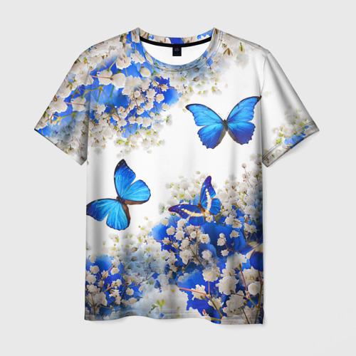 Мужская футболка 3D Butterfly | Blue White Фото 01