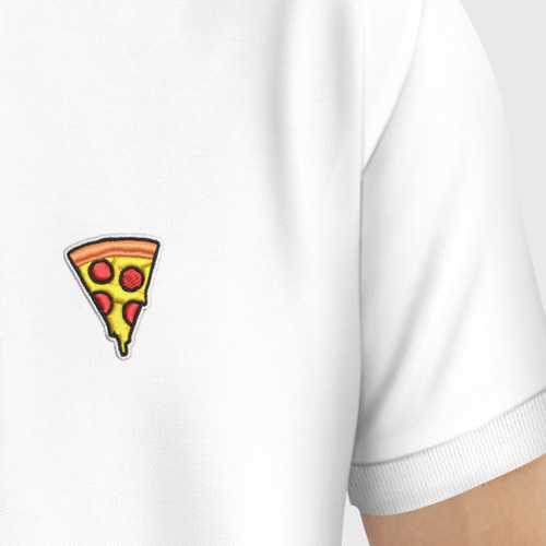 Мужское поло хлопок с вышивкой Пицца Фото 01