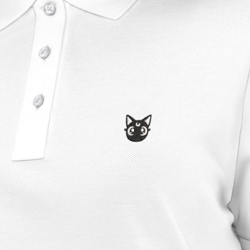 Женское поло хлопок с вышивкой Кошка Луна Фото 01