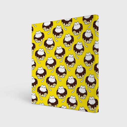 Холст квадратный Котики в пончиках Фото 01