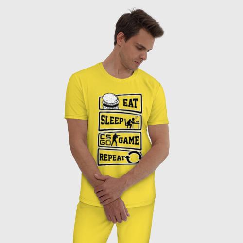 Мужская пижама хлопок Eat Sleep CS GO repeat Фото 01