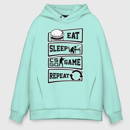 Мужское худи Oversize хлопок Eat Sleep CS GO repeat Фото 01