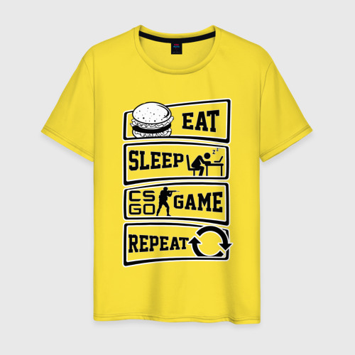 Мужская футболка хлопок Eat Sleep CS GO repeat Фото 01