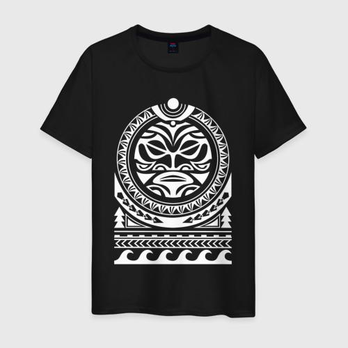 Мужская футболка хлопок Татуировка полинезия маори  Фото 01
