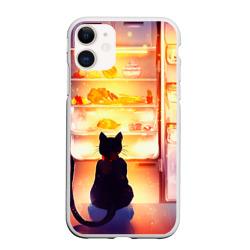 Черный кот холодильник ночь