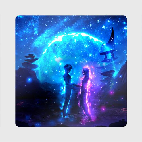 Магнит виниловый Квадрат Внеземная пара луна ночь Фото 01