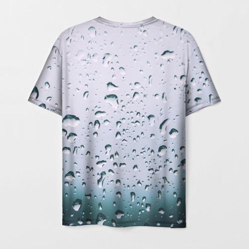 Мужская футболка 3D Капли окно стекло дождь серо Фото 01