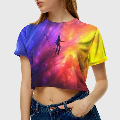 Женская футболка Crop-top 3D НЕОНОВЫЙ КОСМОС Фото 01