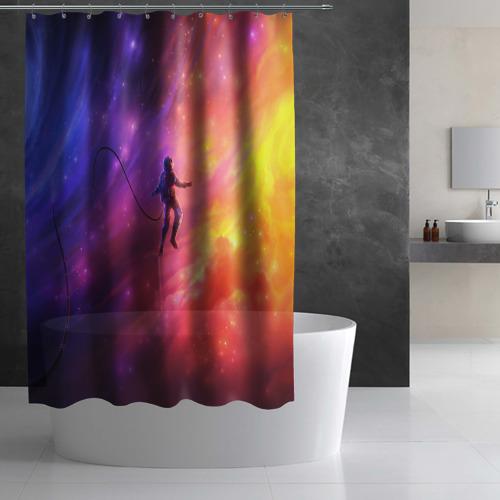 Штора 3D для ванной НЕОНОВЫЙ КОСМОС Фото 01