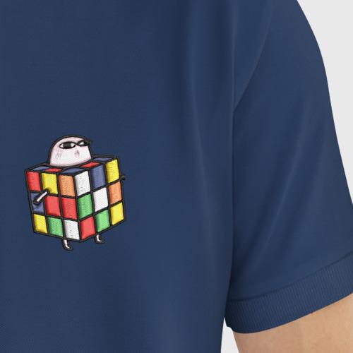 Мужское поло хлопок с вышивкой Кубик Рубика Фото 01