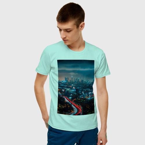 Мужская футболка хлопок Ночной мегаполис Фото 01
