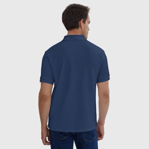 Мужское поло хлопок с вышивкой Нота синяя Фото 01