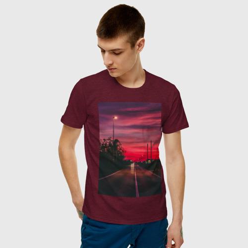 Мужская футболка хлопок дорога  Фото 01