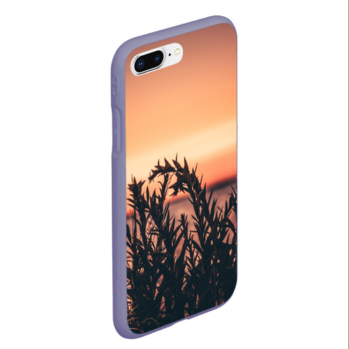 Чехол для iPhone 7Plus/8 Plus матовый Трава растение закат силуэт Фото 01