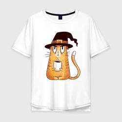 Сердитый котик с кофе