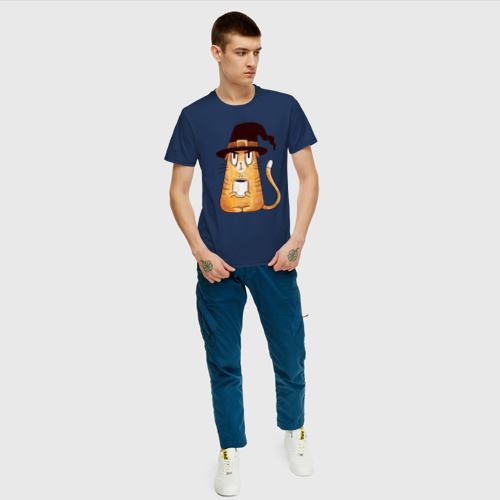 Мужская футболка хлопок Сердитый котик с кофе Фото 01