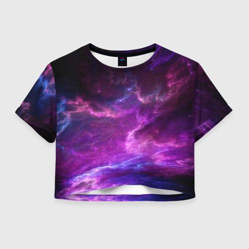 Женская футболка Crop-top 3D Космическое небо Фото 01