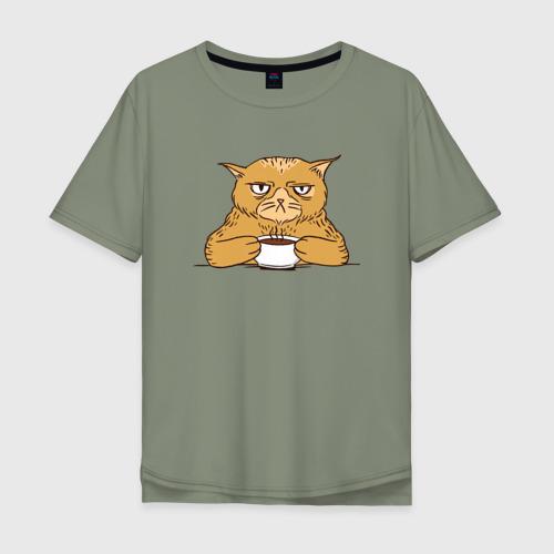 Мужская футболка хлопок Oversize Grumpy Cat Coffee Фото 01
