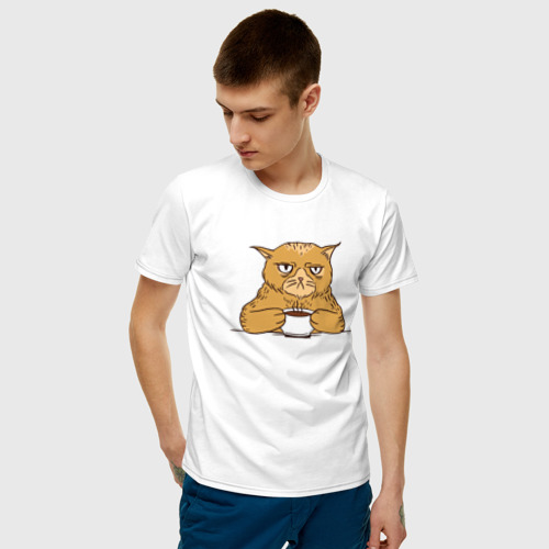 Мужская футболка хлопок Grumpy Cat Coffee Фото 01