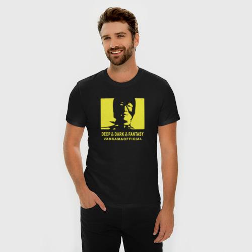 Мужская футболка хлопок Slim VANSAMA OFFICIAL Yellow Фото 01