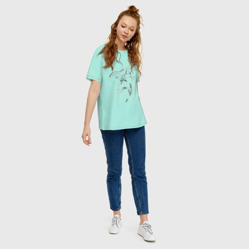 Женская футболка хлопок Oversize дельфины Фото 01