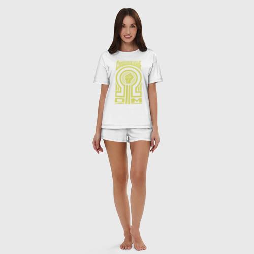 Женская пижама с шортиками хлопок Электрическое сопротивление Фото 01
